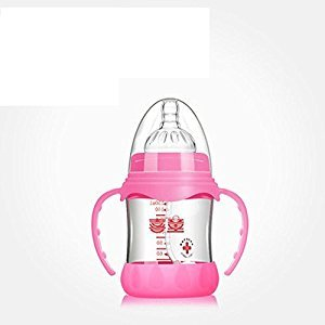 YXBaby Baby's Feeding Bottle& Natural Nipple Feeding Bottle with Silicone Sucker, Anti-broken , Pink , 150ml
