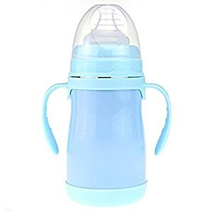 YXBaby Baby's Feeding Bottle Stainless Steel Insulated Baby Bottle with Anti-Flatulence Design Wide-Caliber Baby Bottle,No BPA , blue