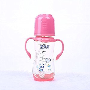 YXBaby Natural Feeding Bottle PPSU Plastic Temperature Sensing Bottle Silicone Belt and Nipple Baby Bottle , rosa 280ml