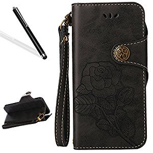Galaxy J5 2015 Flip Case,Galaxy J5 2015 Wallet Case,Leeook Retro Elegant Black Rose Flower Leaf Creative Pattern Design Luxury PU Leather Magnetic Closure Buckle Flip Wallet Folio Inner Soft TPU Case with Card Slots Stand Function Book Style Strip Bumper C