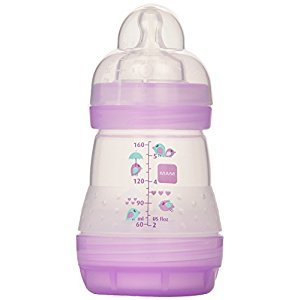 MAM Anti-Colic Bottle, Girl, 5-Ounce, 0 Plus Months, 2-Count, (For Girl)