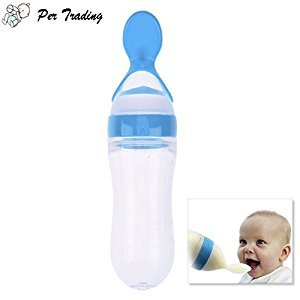 Per 90ml Silicone Squeeze Style Rice Cereal Bottle Squeeze Feeder with a Spoon Newborn Toddler Infant Food Supplement(Blue)