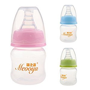 Dovewill 2Pcs Silicon Teat Nipple Bottle Breastmilk Feeding Bottle 60ml for Baby