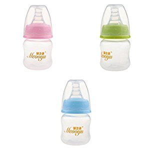 Dovewill 3pcs Silicon Teat Nipple Bottle Breastmilk Feed Bottle 60ml for Newborn Baby