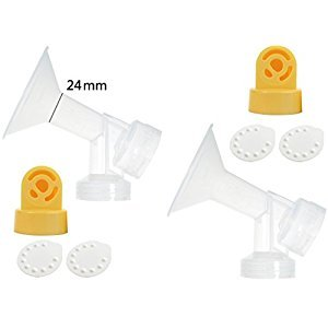 One-piece Breastshields (Replace Medela Personalfit) with 2 Valves and 4 Membranes for Medela Pump In Style, Lactina, and Symphony Breastpumps. Replace Medela Personal Fit Connector and Breastshield. Medela Valve, and Medela Membrane. (Breastshield 24mm)