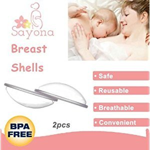 SAYONA Breast Shells, Nursing Cups, Protect Sore Nipples for Breastfeeding, Collect Breastmilk for Nursing Moms, Soft and Flexible Silicone Material, Reusable, 2-pack (One Pair)