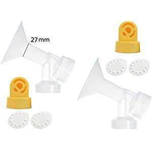 One-piece Breastshields Large 27mm (Replace Medela Personalfit Connector and Breastshield) with 2 Valves and 4 Membranes for Medela Pump In Style, Lactina, Symphony, and Swing Breastpumps. Breastshield 27mm of 4 available sizes, 21mm, 24mm, 27mm, and 30mm.