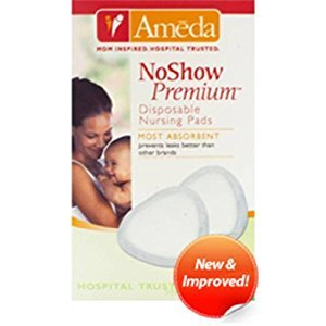 Ameda NoShow Premium Disposable Nursing Pads, 50 Count, White