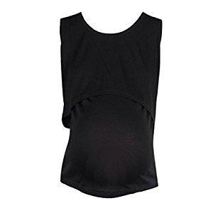 Bessky® Nursing Tops Breastfeeding Vest T-Shirt (Black)