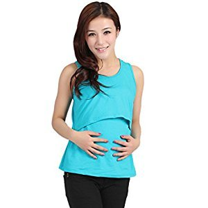 Bessky® Nursing Tops Breastfeeding Vest T-Shirt (Blue)
