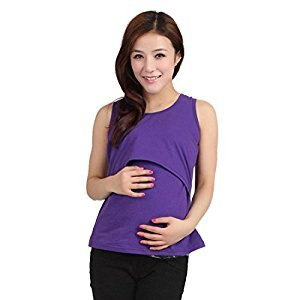 Bessky® Nursing Tops Breastfeeding Vest T-Shirt (Purple)