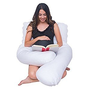Meiz ZZZ's U Shape Full Body Support Pillow for Side Sleeping - Maternity Pregnancy Pillow - Nursing Pillow with 100% Cotton Double Zipper Pillow Cover (white)
