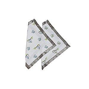 Bacati - Happy Monkeys Muslin 2 Pc Security Blankets (Blue/Green/Gray - Boys)