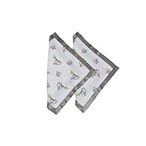 Bacati - Happy Monkeys Muslin 2 Pc Security Blankets (Pink/Lilac/Gray - Girls)