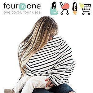 Breastfeeding Nursing Cover Scarf - Stretchy Baby Carriage Cover 4 in 1 Gift for Boys Girls Baby Car Seat Cover, Shopping Cart, Stroller