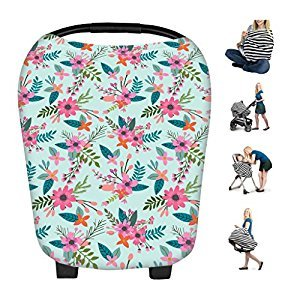 Infant Car Seat Covers 5 in 1 for Girls and Boys - Stretchy Baby Carriage Cover Breastfeeding Nursing Cover Scarf Baby Car Seat Cover, Shopping Cart, Stroller