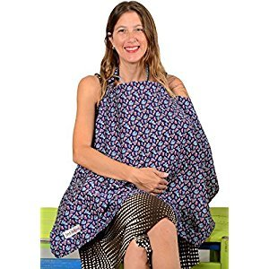 IntiMom Baby Breastfeeding Nursing Cover, Wide Hooter Hider, High Quality Fabric - 100% Breathable Cotton and a Complementary Pouch - with Lifetime Guarantee