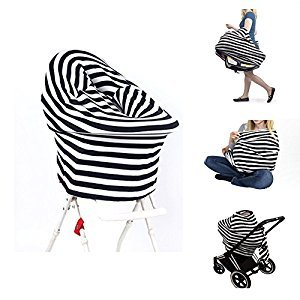 Jiaoly Nursing Breastfeeding Cover Scarf Ultrasoft Baby Car Seat Canopy Shopping Cart Cover High Chair Cover Infant Stroller Cover Mutli-use Stretchy Shawl (Black)