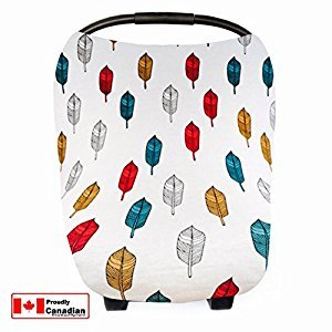Lechitas Premium Stretchy Nursing Breastfeeding Cover | Car Seat Canopy + Shopping Cart Cover + High Chair Cover + Stroller Cover | Multi-Use All In One Mom Essential | Feather Design