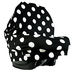 MakeBabySmile Baby Stretchy Car Seat Cover Canopy Poncho, Multi-Uses(High Chair Cover | Nursing Cover Scarf | Shopping Cart Cover) with Bonus Matching Pouch (BLACK-DOT)