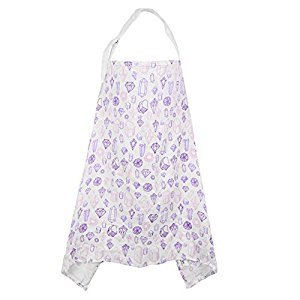 Miracle Baby Breastfeeding Nursing Cover 100% Cotton Musiln Infant Feeding Cover Full Coverage(Purple Diamond)