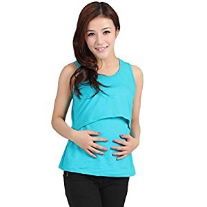 Tenworld Mother's Breastfeeding Clothing Maternity Nursing Vest Tank Top Shirt (Sky Blue)