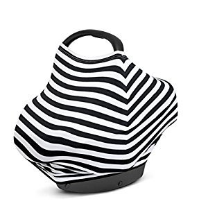 YeahiBaby Baby Nursing Breastfeeding Cover Scarf Car Seat Canopy Stroller Covers (Black White Thick Stripe)