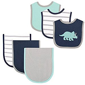 Hudson Baby 6 Piece Bib and Burp Cloth Set, Blue Dino