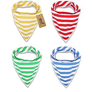 iZiv 4 PACK Baby Bandana Drool Bibs with Adjustable Snaps, Absorbent Soft Cotton Lining 0-2 Years (Color-1)