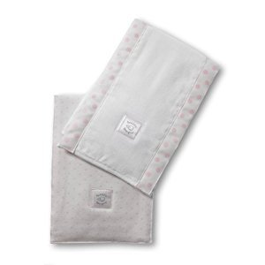 SwaddleDesigns Baby Burpies, Pastel Pink Polka Dots (Set of 2 Burp Cloths)