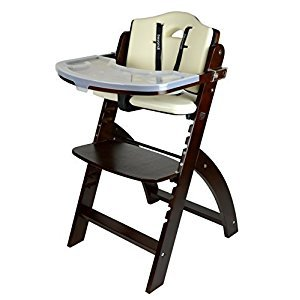 Abiie Beyond Wooden High Chair with Tray. The Perfect Seating Highchair Solution for Your Child As Toddler's or a Dining Chair (6 Months up to 250 Lb) (Mahogany- Cream Cushion) by Abiie