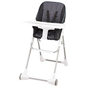 Evenflo Symmetry Flat Fold High Chair with Tray (Blue/White/Black,Koi)