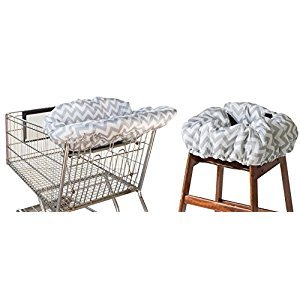 Itzy Ritzy IR-GC8003 Shopping Cart and High Chair Cover, C. Grey Chevron