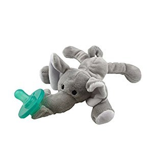 Baby Pacifier Holder Stuffed Animal Soft Plush Toy with Detachable Silicone Baby Dummy Binky Teething Soother Clip Leash & Squeaky (Elephant)