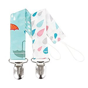 Bumkins Pacifier Clip 2 Pack, Girl, Raindrop and Umbrella