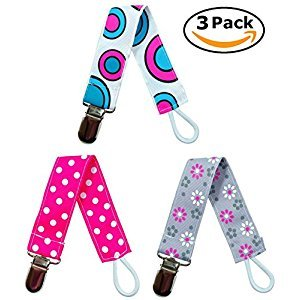 EliteBaby Pacifier Clip Holder For Girls, 3 Pack | Baby Shower Gifts