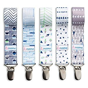 Liname Pacifier Clip for Boys with BONUS eBook - 5 Pack Gift Packaging - Premium Quality & Unique Design - Pacifier Clips Fit ALL Pacifiers & Soothers - Perfect Baby Gift