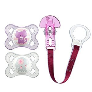 MAM Animals Pacifiers and Pacifier Clip, 0-6 Months, 2 Pacifiers, 1 Pacifier Clip, Girl, 0-6 Month