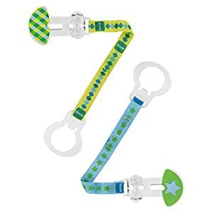 MAM Double Pacifier Clip, Boy, 0 Plus Months, 2-Count, (For Boy)
