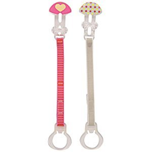 MAM Double Pacifier Clip, Girl, 0 Plus Months, 2-Count, (For Girl)
