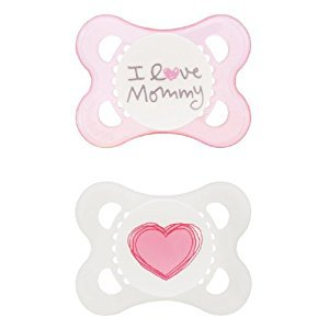 MAM Silicone Love and Affection Pacifier, I Love Mommy, Girl, 0-6 Months, 2-Count, (For Girl)