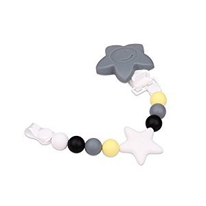 Multifunctional Teething Baby Silicone Strap/Binky Pacifier Clip/Teether Toys for Babies (Grey)