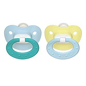 NUK Classic Silicone BPA Free Fashion Pacifier, Size 1, 2-Pack, Colors May Vary