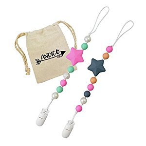 Pacifier Clip Holder - 2 in 1 - with Silicone Teething Beads, for Girls, Set of Two, Compatible with MAM, Soothie, NUK, Tommee Tippee and Other Pacifiers - Pink & Pearl