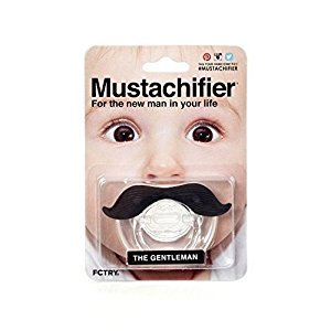 The Gentleman Mustachifier - 0-6 Months Baby Orthodontic Mustache Pacifier - BPA Free (Black)