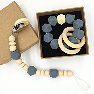 Amyster Wooden Baby Teether Ring Wood Pacifier Clip Organic Wood Montessori Toy Silicone Beads Teether Infant Teether BPA Free (Grey)