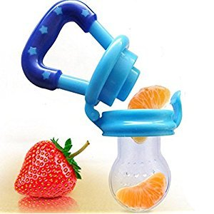 Baby Food Feeder/Fruit Pacifier BPA Free & 100% Silicone Nipple Fresh Food Milk Nibbler Baby Teething Toy S M L 3 Size Feeder with 1 Pacifier Chain