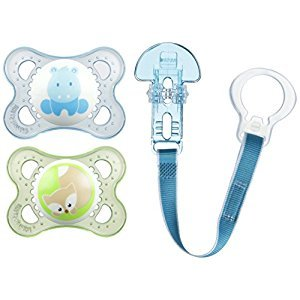 MAM Animals Pacifiers and Pacifier Clip, 0-6 Months, 2 Pacifiers, 1 Pacifier Clip, Boy, 0-6 Month