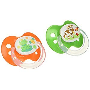 Playtex Baby Binky Orthodontic Silicon BPA-Free Pacifiers, 0-6 Months, Blue/Green, Pack of 2 Pacifiers