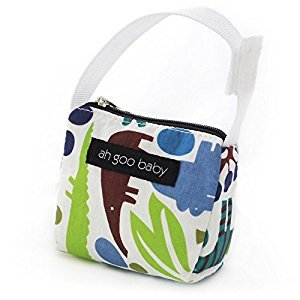 Ah Goo Baby Pacifier Tote, Zoo Frenzy, Lime/Paisley